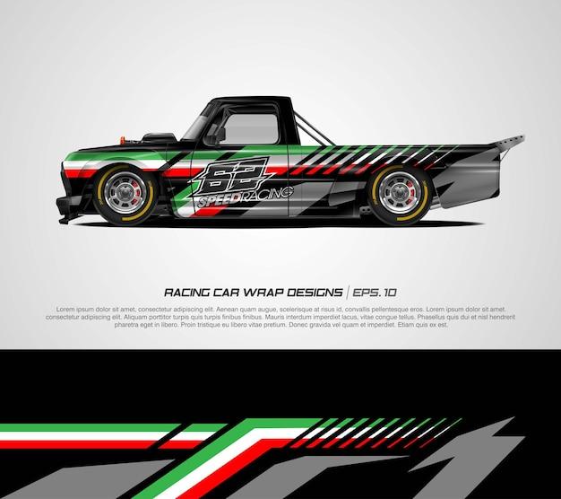 Racewagen wrap italië vlag ontwerp vector