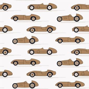 Racewagens naadloze vintage patroon