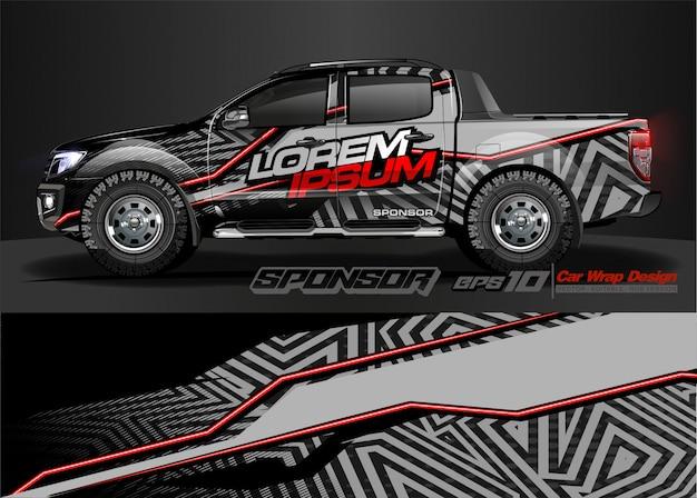 Racing car wrap ontwerp en voertuigkleuren