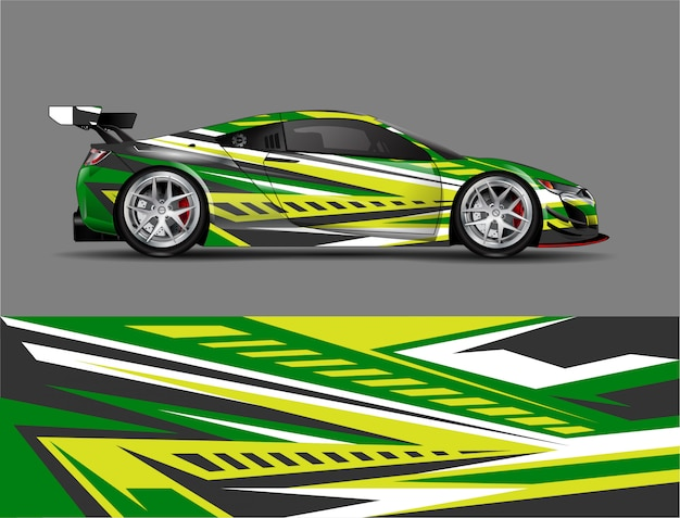 Racing car wrap sticker ontwerpconcept