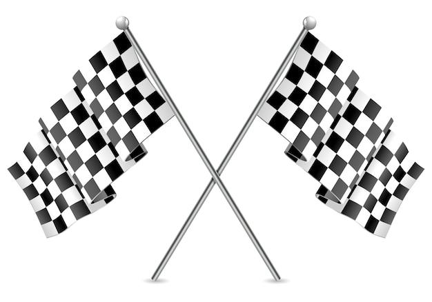Racing geblokte vlaggen eindigen