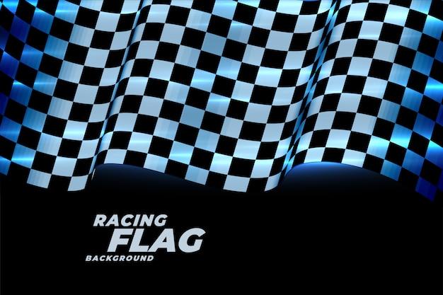 Racing geruite vlag achtergrond in blauwe neonlichten