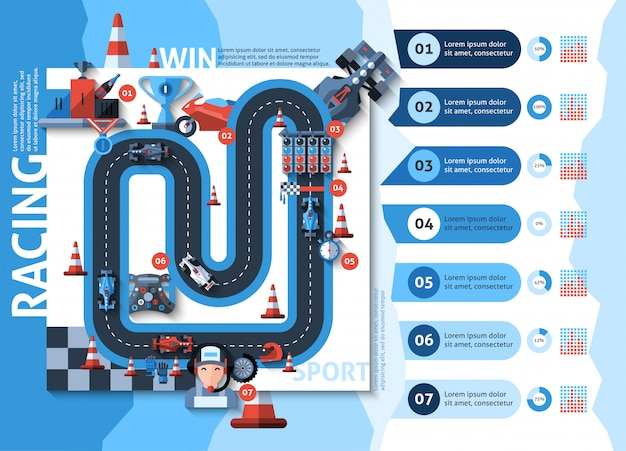 Racing infographics set