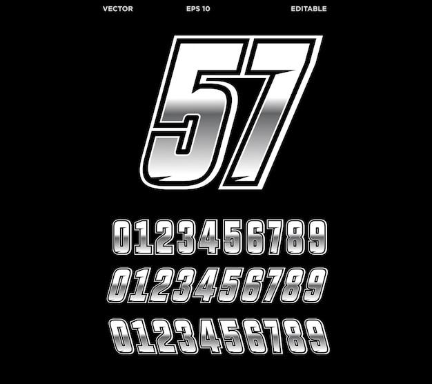 Racing nummer ontwerp zilveren editie