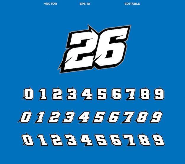 Racing nummerontwerp scherpe rand