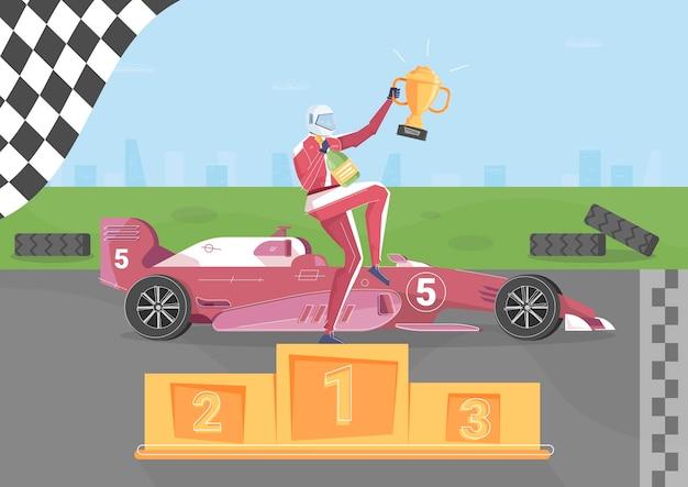 Racing overwinning achtergrond met professionele sport symbolen plat