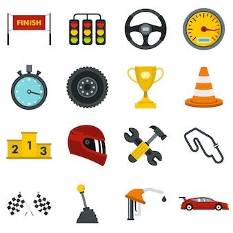 Racing snelheid ingesteld plat pictogrammen