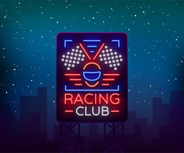 Racing sports billboard neon logo embleem patroon.