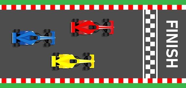 Racing sportwagens f1 racen bolid naar de finish