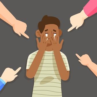 Racisme concept met mensen die op iemand wijzen