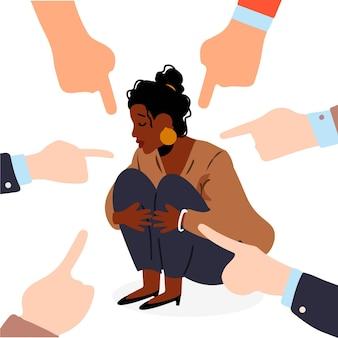 Racisme concept met wijzende vingers