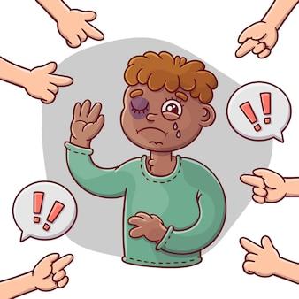 Racismeconcept met droevige jongen wordt geïllustreerd die