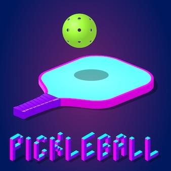 Racket of peddel en bal voor pickleballspel in moderne felle kleuren