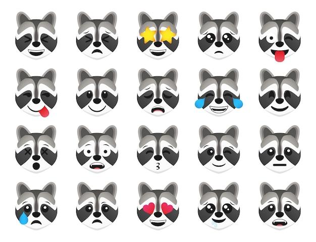 Racoon emoticon glimlach iconen collectie. cartoon wasbeer emoji set. vector emoticon set