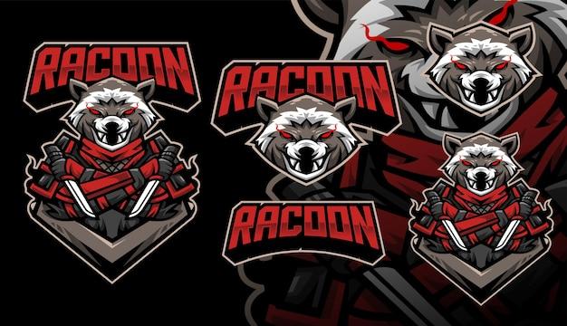 Racoon ninja gaming voetbal mascotte logo