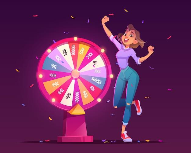Rad van fortuin en gelukkige meisjeswinnaar in casino