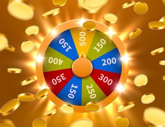 Rad van geluk of fortuin met vallende munten. gok kans vrije tijd. kleurrijk gokwiel.