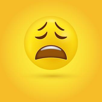 Radeloze emoticon gezicht in 3d weergegeven met boventanden