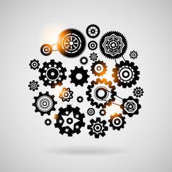Radertjes en versnellingen teamwork concept of symbool