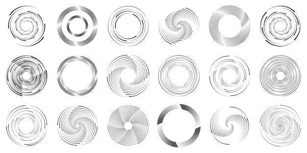 Radiale snelheidslijnen set van donkere gestippelde curven wervelende halftoon
