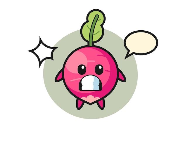 Radijs karakter cartoon met geschokt gebaar, schattig stijlontwerp voor t-shirt, sticker, logo-element