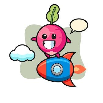 Radijs mascotte karakter rijden op een raket, schattig stijlontwerp voor t-shirt, sticker, logo-element