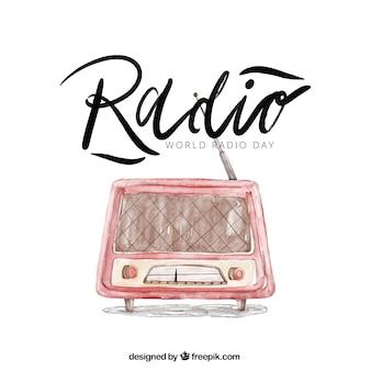 Radio achtergrond in aquarel stijl