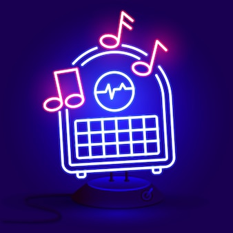 Radio blauw gloeiend neon