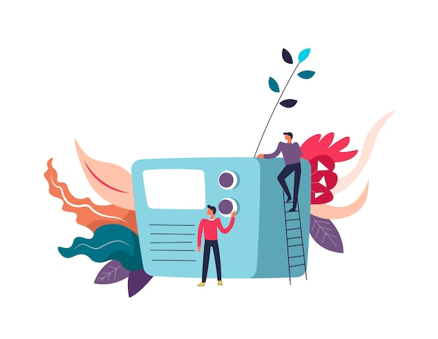 Radio-massa media-informatie-ontvanger en mensen