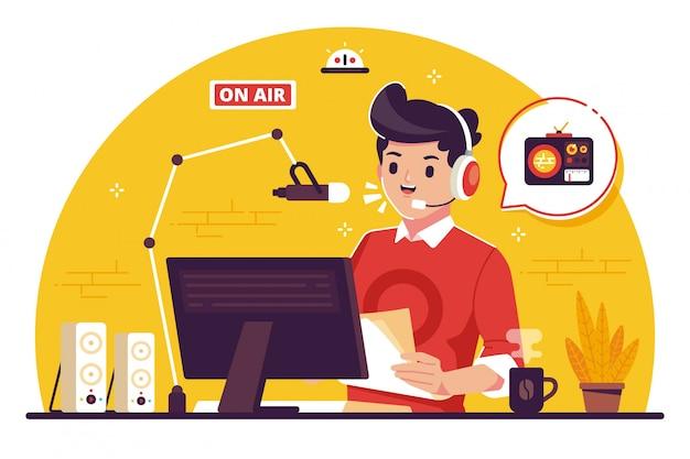 Radio omroeper platte ontwerp illustratie