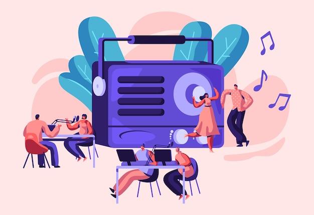 Radio personality on-air concept illustratie