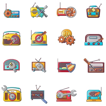 Radio reparatie iconen set, cartoon stijl