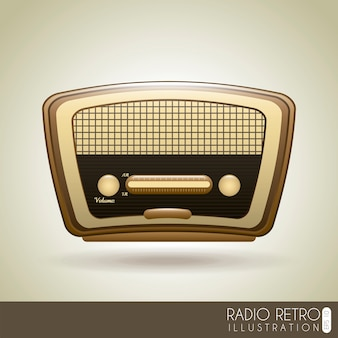 Radio retro over grijze achtergrond vectorillustratie