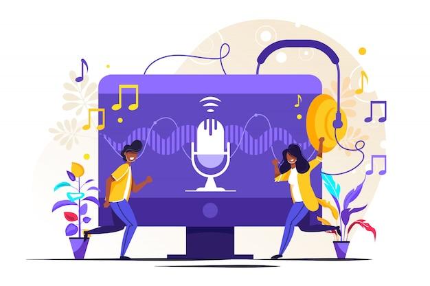 Radio talkshow, discussie en interview personen concept