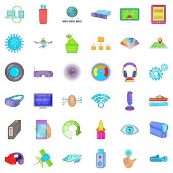 Radio technologie iconen set, cartoon stijl