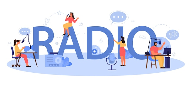 Radio typografisch koptekst concept. idee van nieuwsuitzending in de studio. dj bezetting. persoon die door de microfoon spreekt.