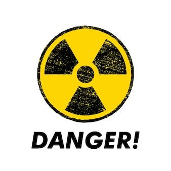 Radioactief waarschuwingsbord met gele cirkel. radioactiviteit waarschuwing vector symbool.