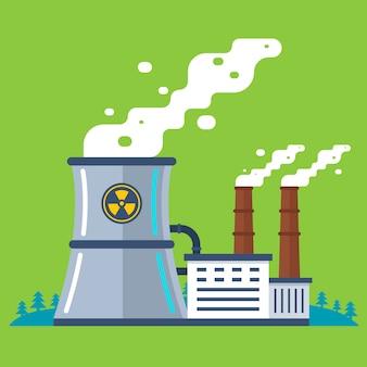 Radioactieve plant met een pijp. goedkope energieproductie.
