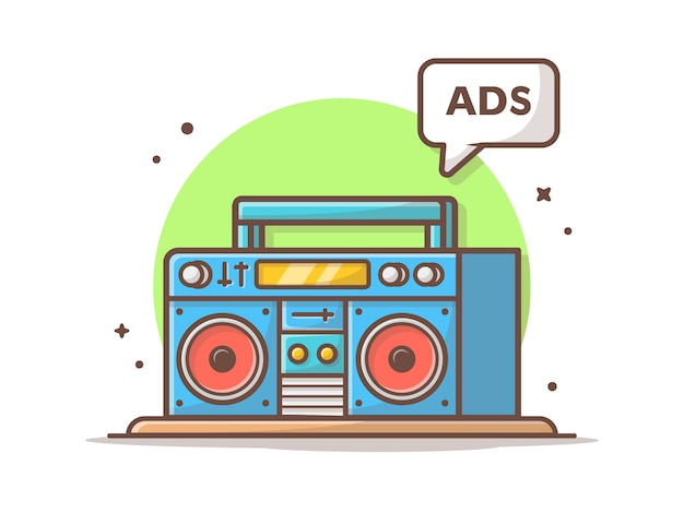 Radioadvertenties vector icon illustratie. boombox en advertentieteken, radiopictogramconcept