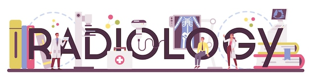 Radiologie typografisch woord. arts die röntgenfoto van het menselijk lichaam met computertomografie, idee van gezondheidszorg en ziektediagnose onderzoekt. geïsoleerd