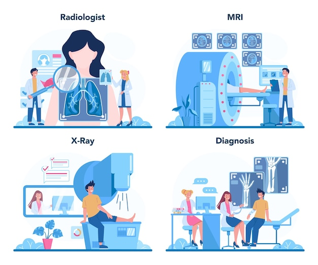 Radioloog concept set. arts die röntgenfoto van het menselijk lichaam met computertomografie, mri en echografie onderzoekt.