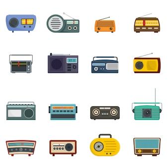 Radiomuziek oude apparatenpictogrammen geplaatst geïsoleerde vector