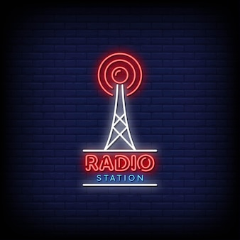 Radiostation logo neon signs style text