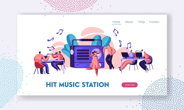 Radiostation show playing music landing page.
