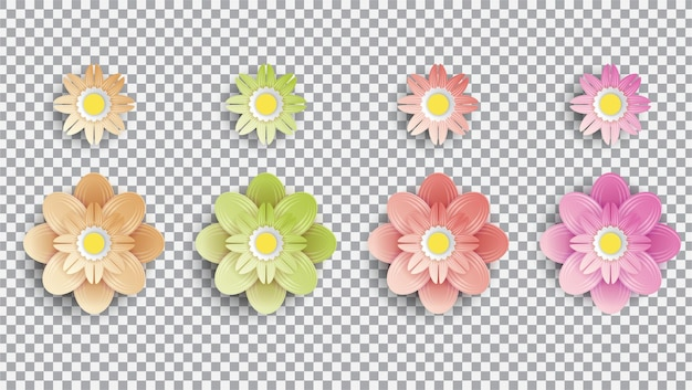 Raëlistische exotische bloemen transparante achtergrond instellen collectie bloemen op transparante achtergrond