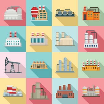 Raffinaderij plant iconen set, vlakke stijl