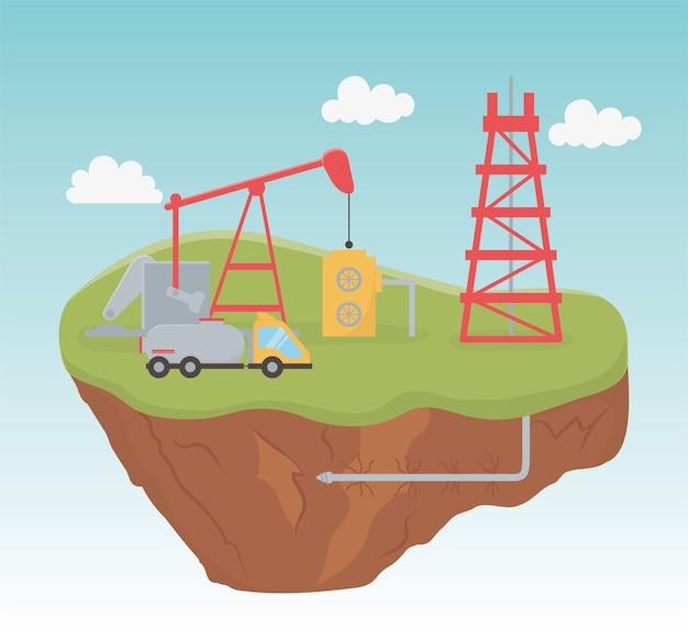 Raffinaderij toren vrachtwagen pomp proces exploratie fracking
