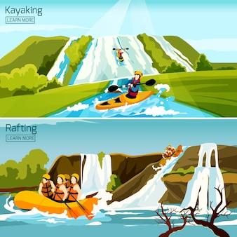Raften kanovaren kajakken composities
