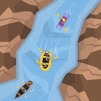 Raften op rivier bovenaanzicht