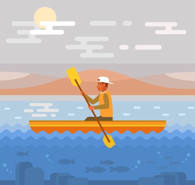 Raften op rivier illustratie